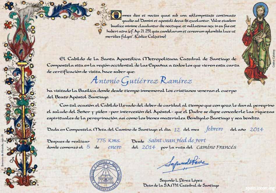 The pilgrims' certificates - Certificate of distance