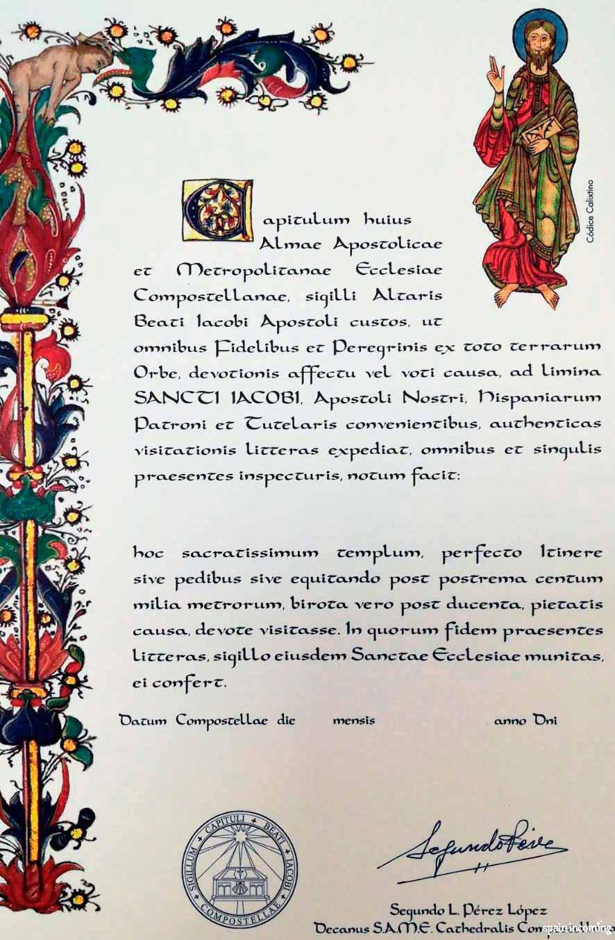 The pilgrims' certificates - La Compostela