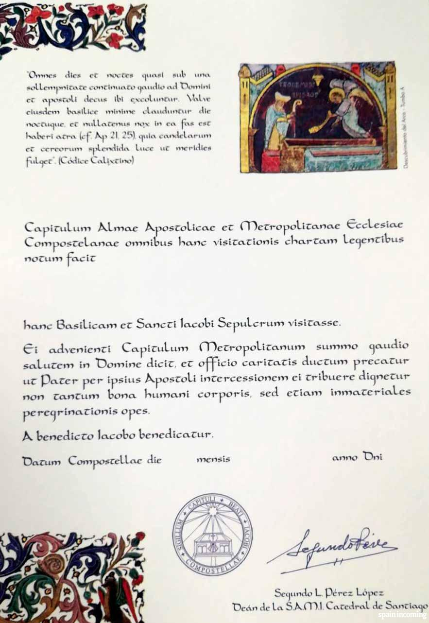 The pilgrims' certificates - Welcome certificate