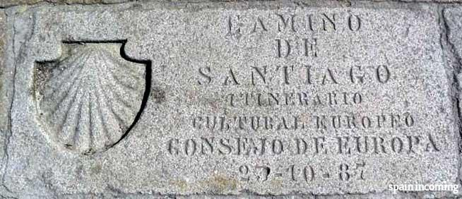 The history of the Camino de Santiago - memorial stone of de Camino as European cultural itinerary
